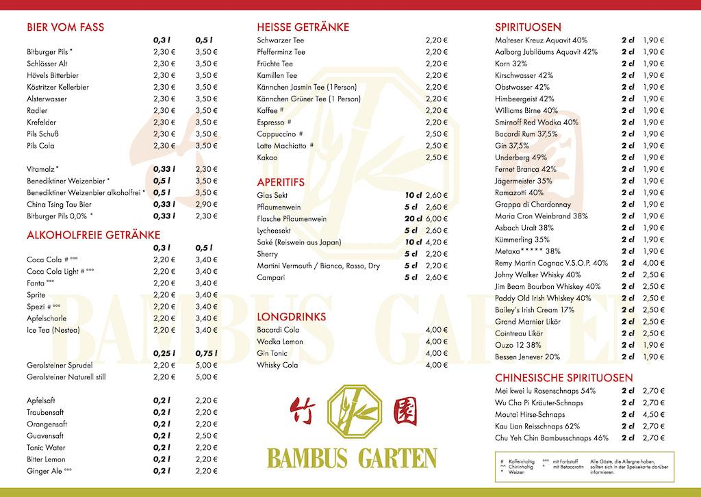 Getrankekarte China Restaurant Bambus Garten Holzwickede